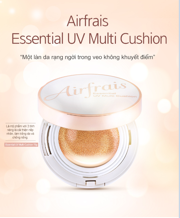 Phấn nước Essential UV Cushion Airfrais SPF 50+/PA+++ #21 Light beige